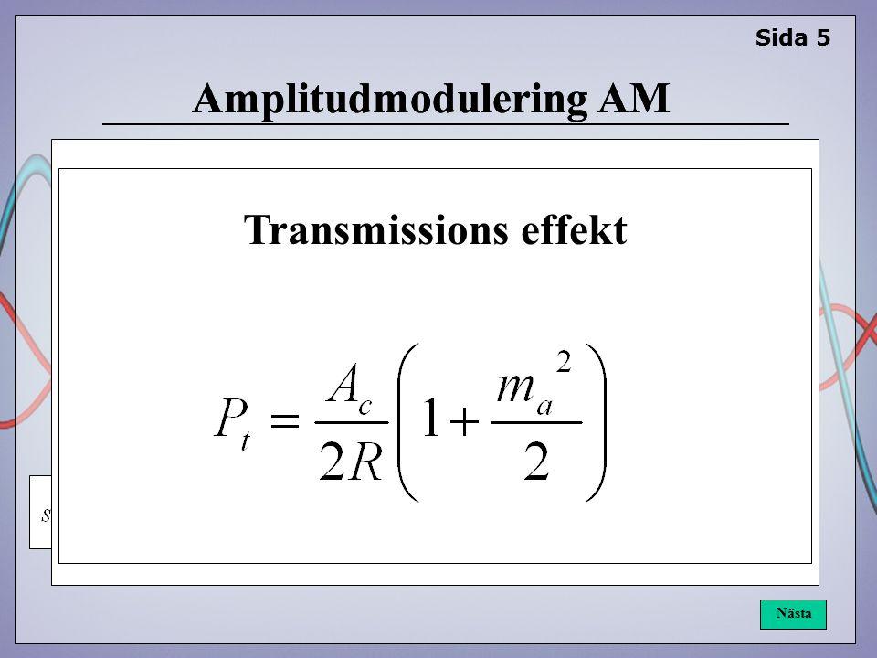 Amplitudmodulering AM Sida 5 Nästa Amplitudmodulering AM Insignal Bärvåg Modulerad signal m a =A m /A c Modulationsindex AM i frekvensplan -2 sidband Transmissions effekt