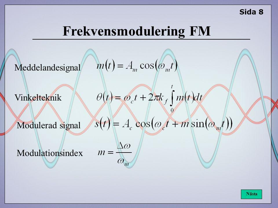Sida 8 Nästa Frekvensmodulering FM Meddelandesignal Modulerad signal Modulationsindex Vinkelteknik