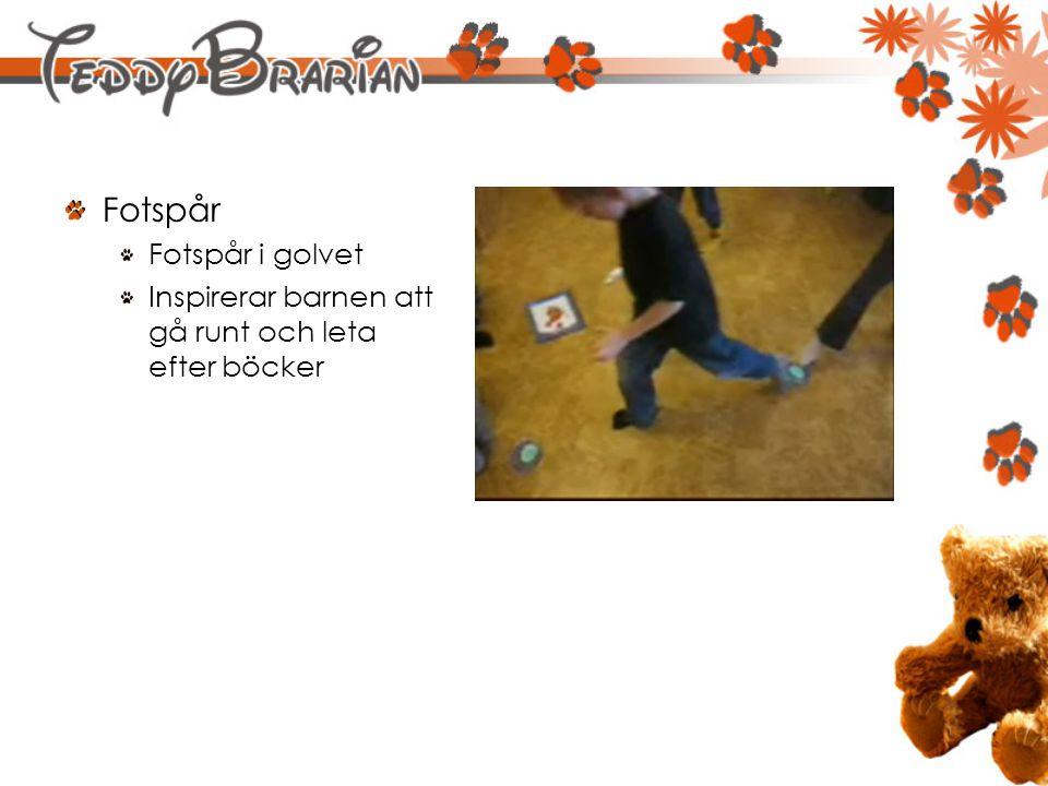 Fotspår Fotspår i golvet Inspirerar barnen att gå runt och leta efter böcker