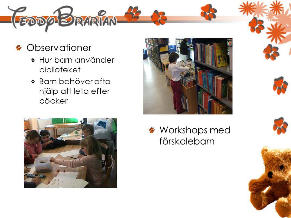 Observationer Hur barn använder biblioteket Barn behöver ofta hjälp att leta efter böcker Workshops med förskolebarn