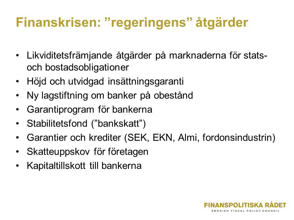 Finanskrisen: regeringens åtgärder Likviditetsfrämjande åtgärder på marknaderna för stats- och bostadsobligationer Höjd och utvidgad insättningsgaranti Ny lagstiftning om banker på obestånd Garantiprogram för bankerna Stabilitetsfond ( bankskatt ) Garantier och krediter (SEK, EKN, Almi, fordonsindustrin) Skatteuppskov för företagen Kapitaltillskott till bankerna