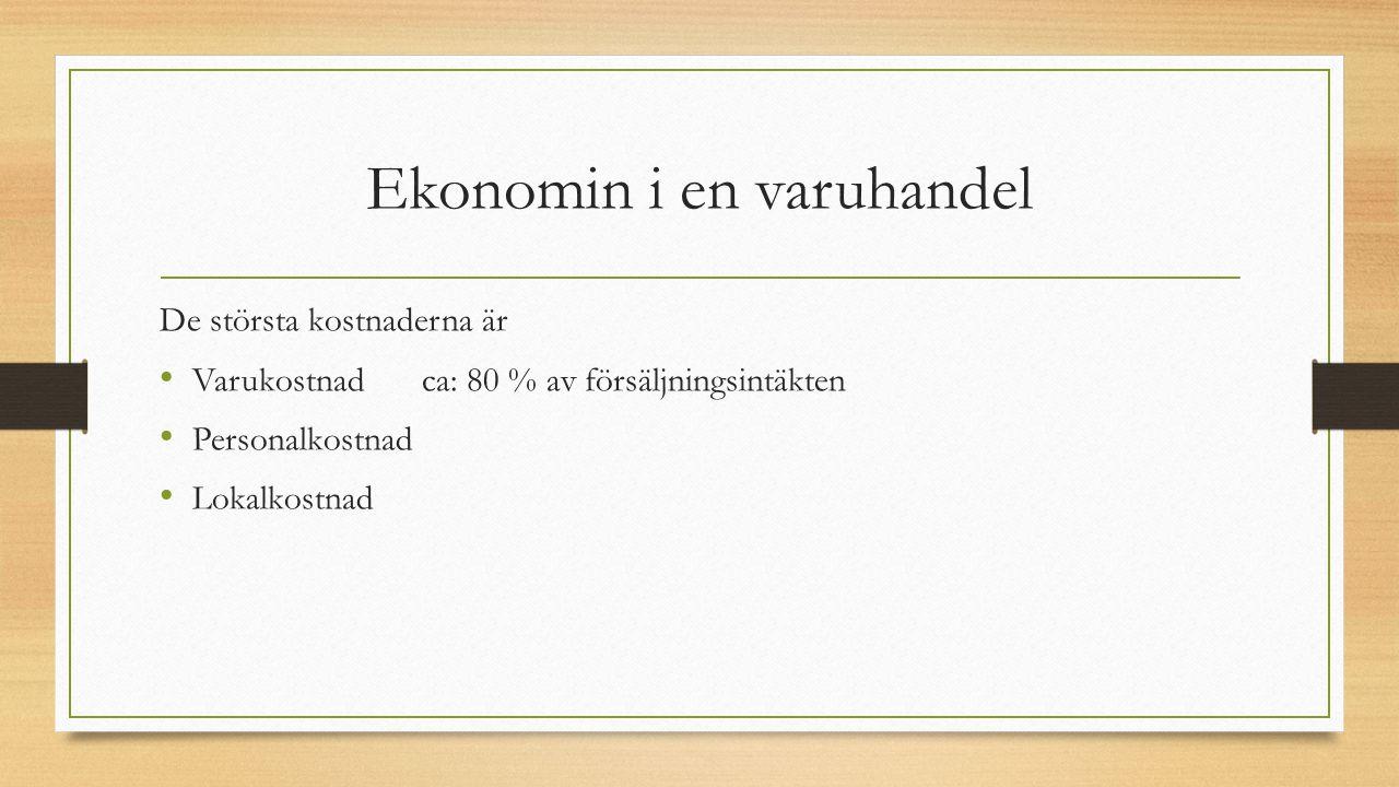 Ekonomin i en varuhandel De största kostnaderna är Varukostnadca: 80 % av försäljningsintäkten Personalkostnad Lokalkostnad
