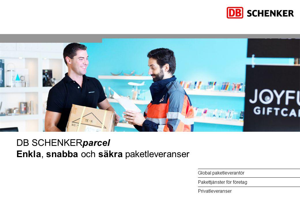 Global paketleverantör Pakettjänster för företag Privatleveranser DB SCHENKERparcel Enkla, snabba och säkra paketleveranser