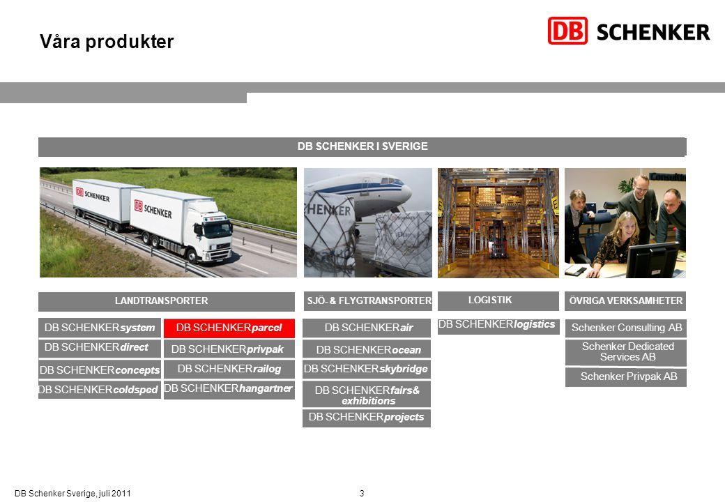 3DB Schenker Sverige, juli 2011 Våra produkter DB SCHENKERprivpak DB SCHENKERair DB SCHENKERlogistics Schenker Consulting AB Schenker Privpak AB Schen