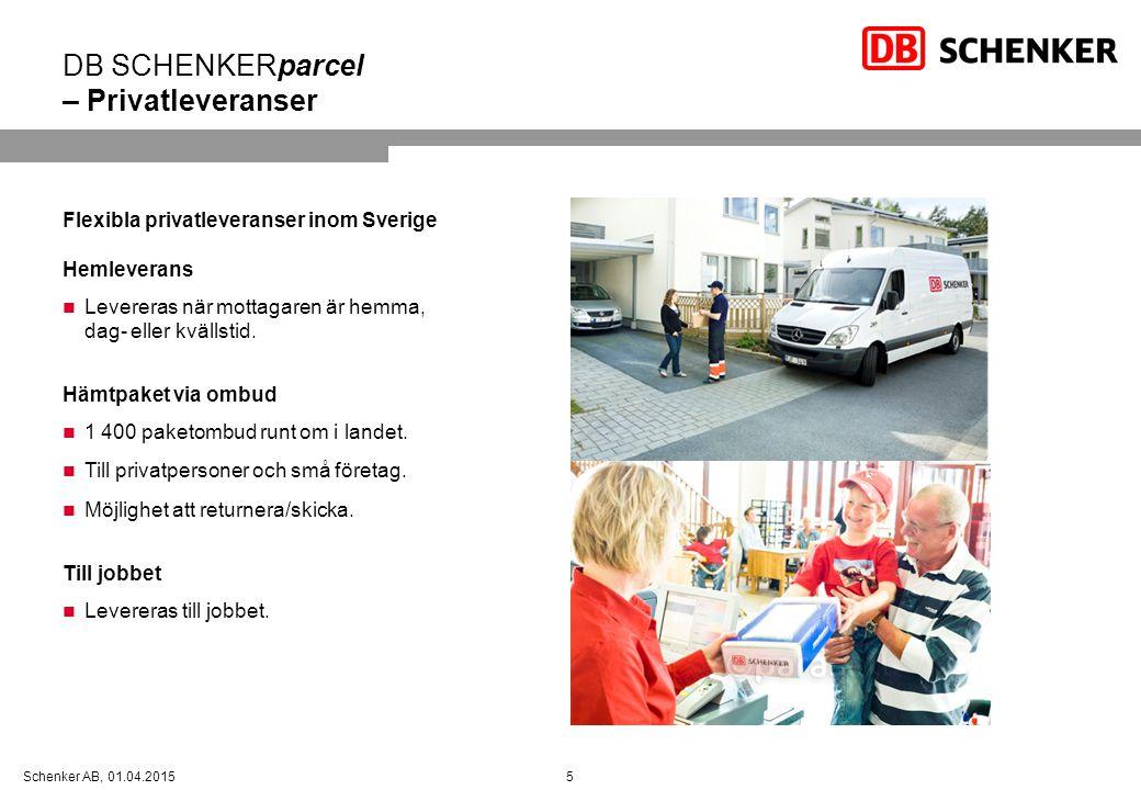 5Schenker AB, 01.04.2015 DB SCHENKERparcel – Privatleveranser Flexibla privatleveranser inom Sverige Hemleverans Levereras när mottagaren är hemma, da