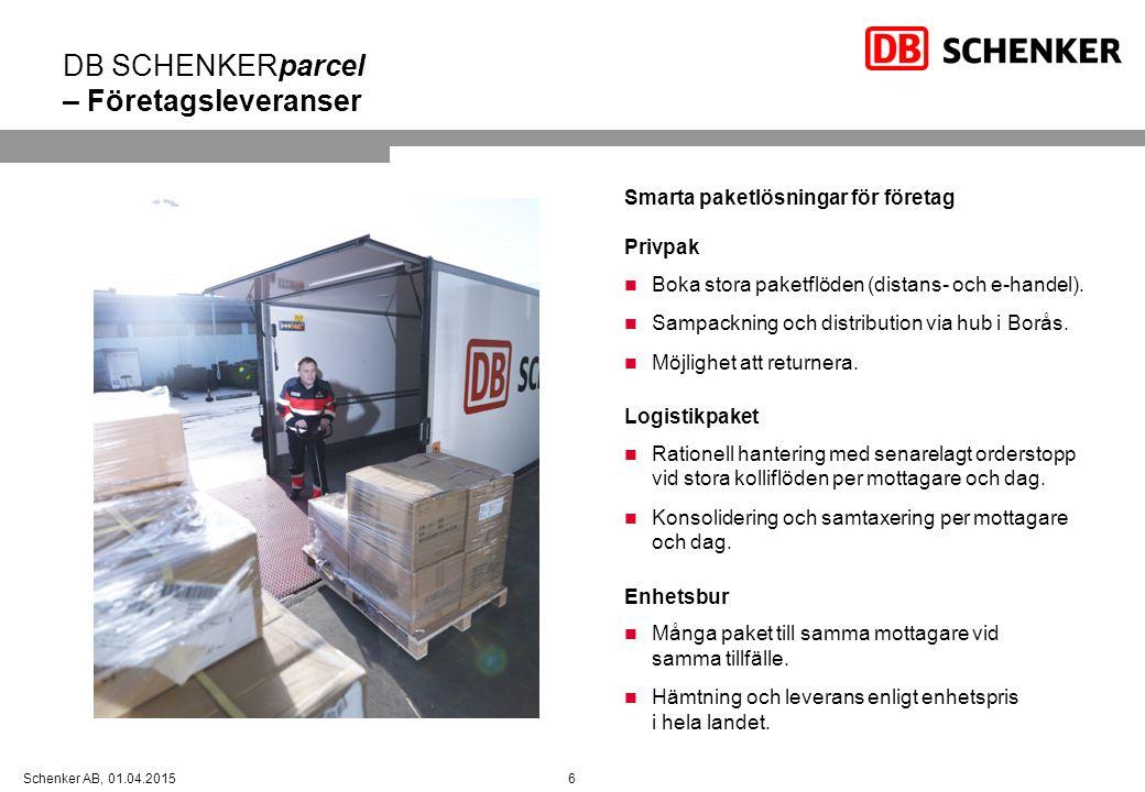 6Schenker AB, 01.04.2015 DB SCHENKERparcel – Företagsleveranser Smarta paketlösningar för företag Privpak Boka stora paketflöden (distans- och e-hande