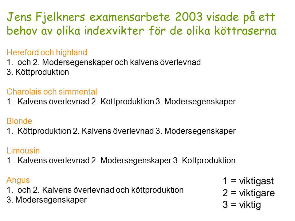Jens Fjelkners examensarbete 2003 visade på ett behov av olika indexvikter för de olika köttraserna Hereford och highland 1.och 2.