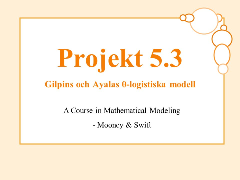 A Course in Mathematical Modeling, Kap.