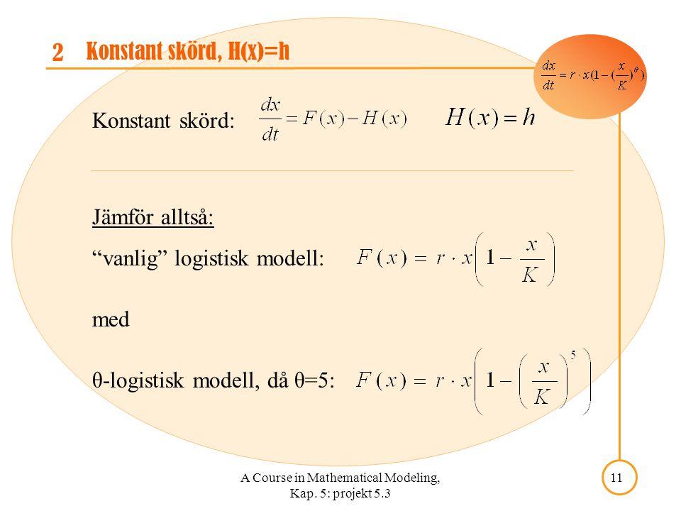 "A Course in Mathematical Modeling, Kap. 5: projekt 5.3 11 2 Konstant skörd, H(x)=h Jämför alltså: ""vanlig"" logistisk modell: med θ-logistisk modell, d"
