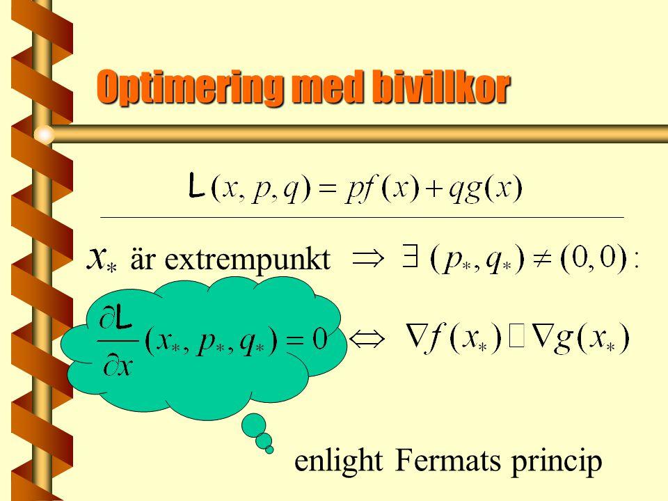 Optimering med bivillkor är extrempunkt enlight Fermats princip