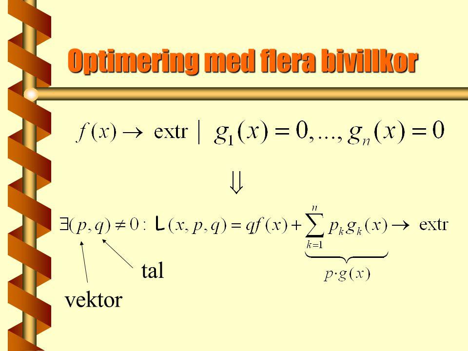 Optimering med flera bivillkor vektor tal