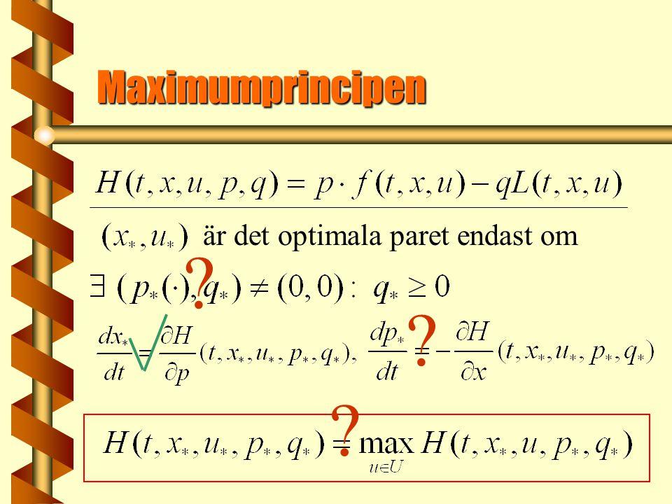 Maximumprincipen är det optimala paret endast om