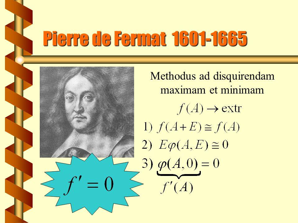 Pierre de Fermat 1601-1665 Methodus ad disquirendam maximam et minimam