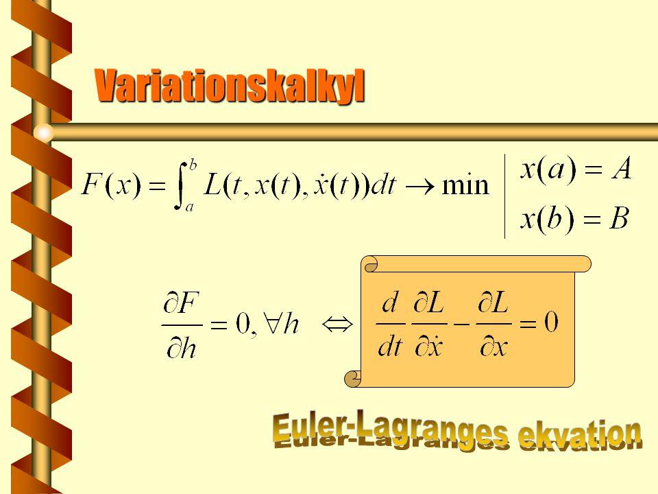  Dessutom i OR kan det finnas extra begränsning  VK är enstaka fall av OR med Variationskalkyl vs optimal reglering  Nontriviala egenskaper av VK kommer bara från funktionen L