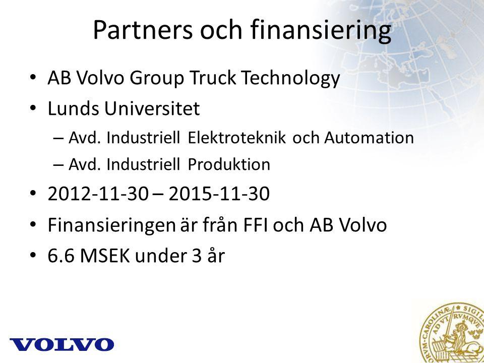 Partners och finansiering AB Volvo Group Truck Technology Lunds Universitet – Avd.