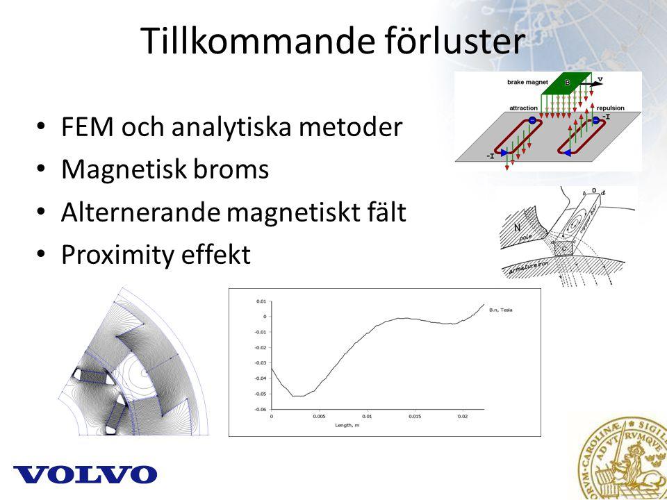 Tillkommande förluster FEM och analytiska metoder Magnetisk broms Alternerande magnetiskt fält Proximity effekt