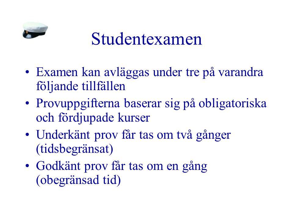Studentexamen Examen kan avläggas under tre på varandra följande tillfällen Provuppgifterna baserar sig på obligatoriska och fördjupade kurser Underkä
