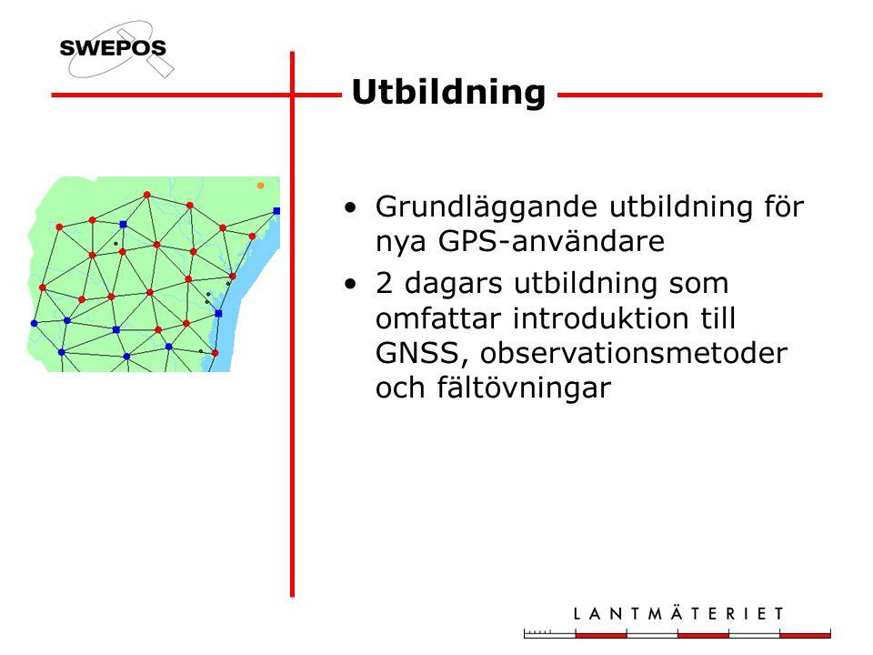 Utbildning Grundläggande utbildning för nya GPS-användare 2 dagars utbildning som omfattar introduktion till GNSS, observationsmetoder och fältövningar