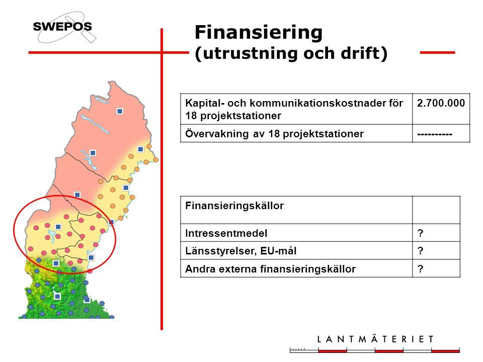 Finansiering (utrustning och drift) Kapital- och kommunikationskostnader för 18 projektstationer 2.700.000 Övervakning av 18 projektstationer---------- Finansieringskällor Intressentmedel.