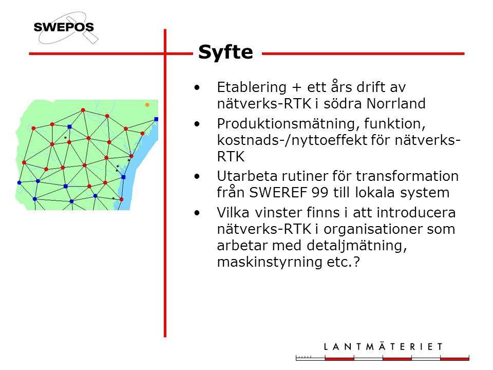 Syfte Etablering + ett års drift av nätverks-RTK i södra Norrland Produktionsmätning, funktion, kostnads-/nyttoeffekt för nätverks- RTK Utarbeta rutiner för transformation från SWEREF 99 till lokala system Vilka vinster finns i att introducera nätverks-RTK i organisationer som arbetar med detaljmätning, maskinstyrning etc.