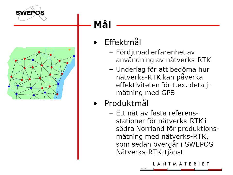 Mål Effektmål –Fördjupad erfarenhet av användning av nätverks-RTK –Underlag för att bedöma hur nätverks-RTK kan påverka effektiviteten för t.ex.