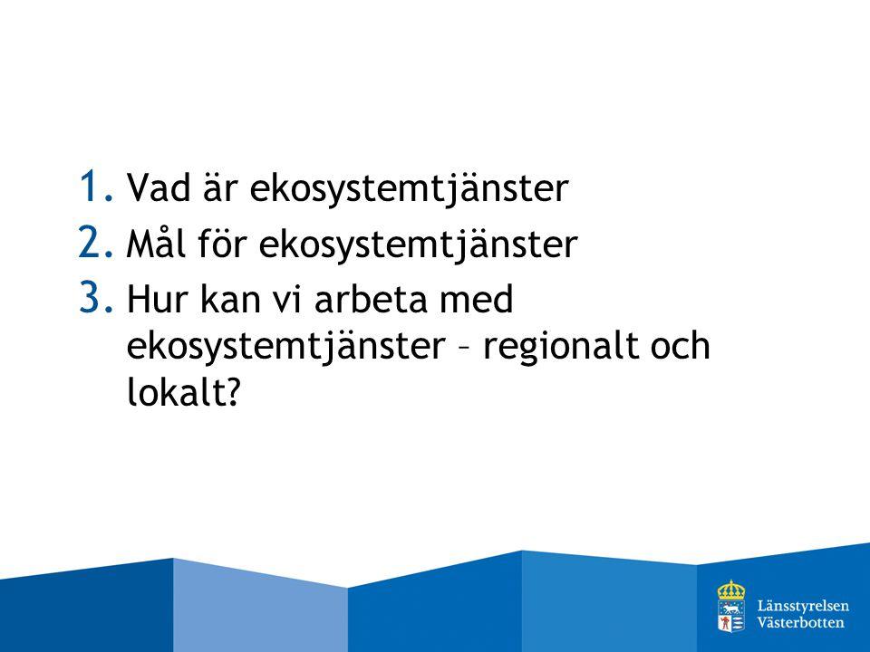 1. Vad är ekosystemtjänster 2. Mål för ekosystemtjänster 3. Hur kan vi arbeta med ekosystemtjänster – regionalt och lokalt?
