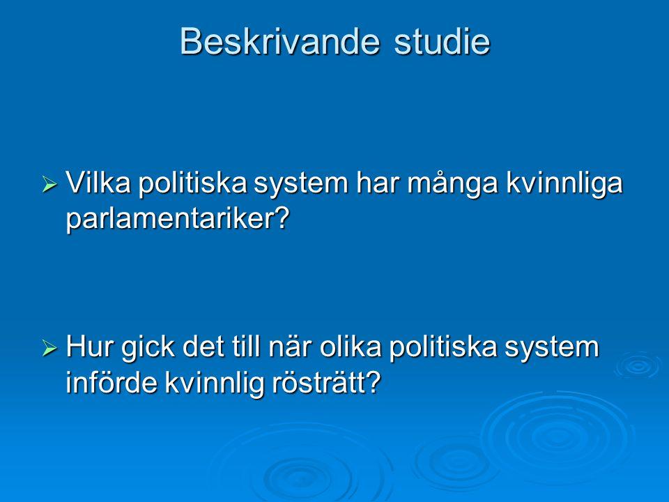 Beskrivande studie  Vilka politiska system har många kvinnliga parlamentariker.