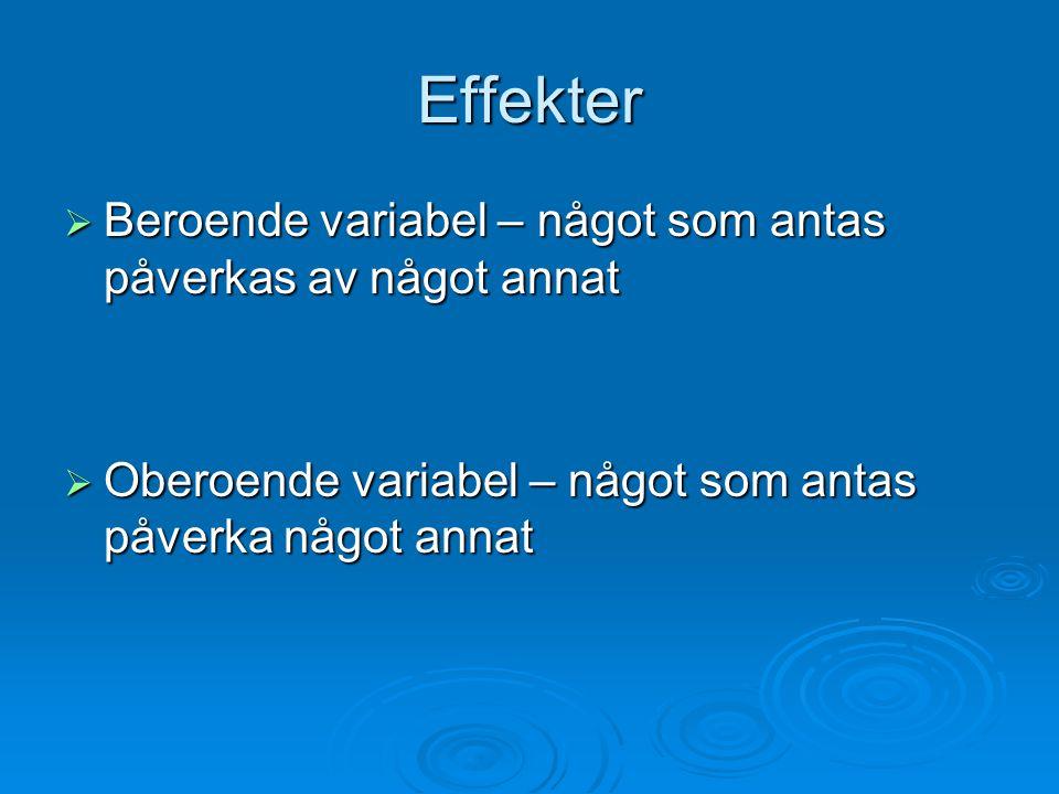 Effekter  Beroende variabel – något som antas påverkas av något annat  Oberoende variabel – något som antas påverka något annat