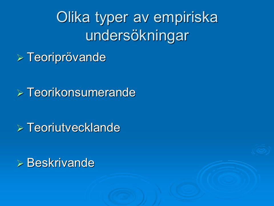 Olika typer av empiriska undersökningar  Teoriprövande  Teorikonsumerande  Teoriutvecklande  Beskrivande