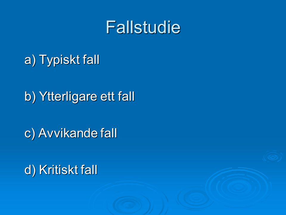 Fallstudie a) Typiskt fall a) Typiskt fall b) Ytterligare ett fall b) Ytterligare ett fall c) Avvikande fall c) Avvikande fall d) Kritiskt fall d) Kritiskt fall