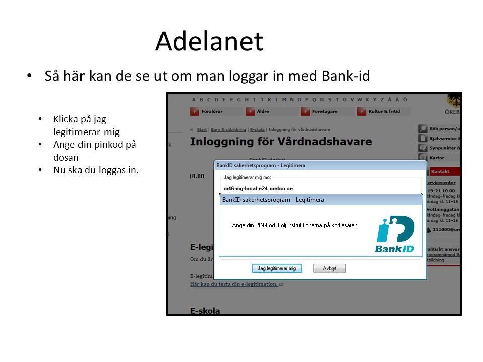 Om du loggar in med Mobilt Bank-id ser det ut så här.