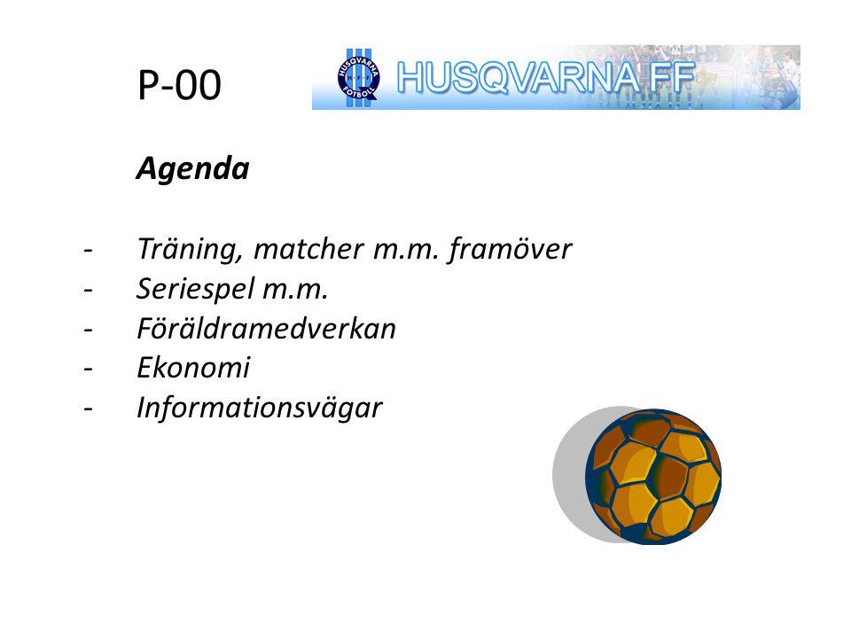 Agenda P-00 Agenda -Träning, matcher m.m. framöver -Seriespel m.m. -Föräldramedverkan -Ekonomi -Informationsvägar