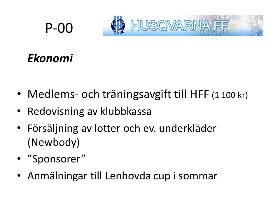 """Agenda Ekonomi Medlems- och träningsavgift till HFF (1 100 kr) Redovisning av klubbkassa Försäljning av lotter och ev. underkläder (Newbody) """"Sponsore"""