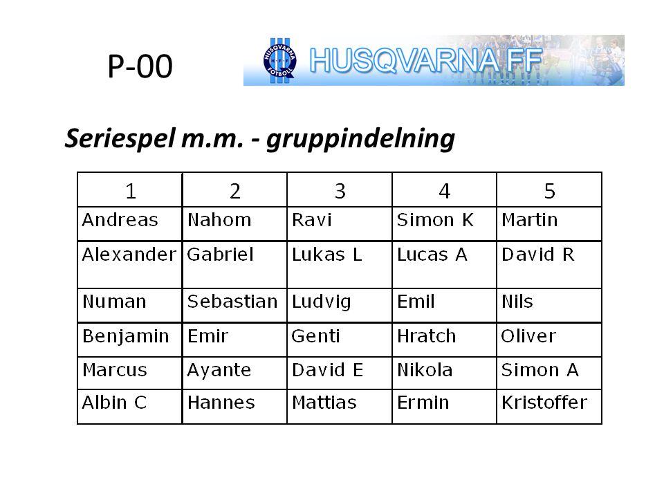 P-00 Seriespel m.m. - gruppindelning