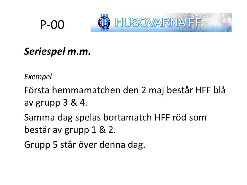 P-00 Seriespel m.m. Exempel Första hemmamatchen den 2 maj består HFF blå av grupp 3 & 4. Samma dag spelas bortamatch HFF röd som består av grupp 1 & 2