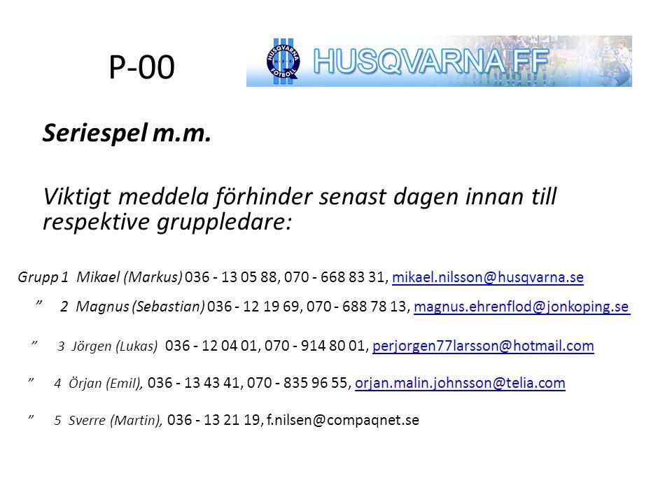 P-00 Seriespel m.m.