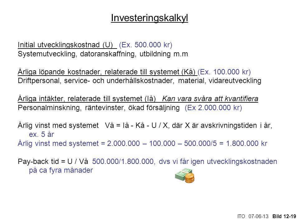 ITO 07-06-13 Bild 12-19 Investeringskalkyl Initial utvecklingskostnad (U) (Ex. 500.000 kr) Systemutveckling, datoranskaffning, utbildning m.m Årliga l