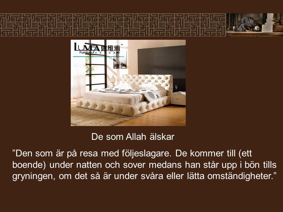 """""""Den som är på resa med följeslagare. De kommer till (ett boende) under natten och sover medans han står upp i bön tills gryningen, om det så är under"""