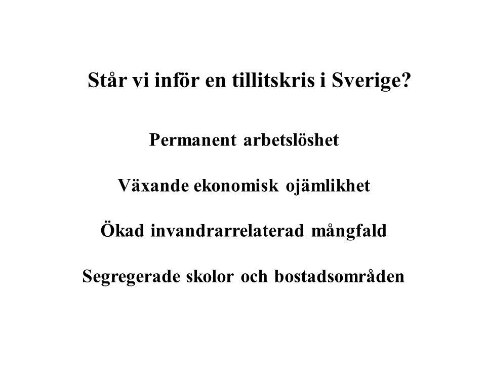 Står vi inför en tillitskris i Sverige? Permanent arbetslöshet Växande ekonomisk ojämlikhet Ökad invandrarrelaterad mångfald Segregerade skolor och bo