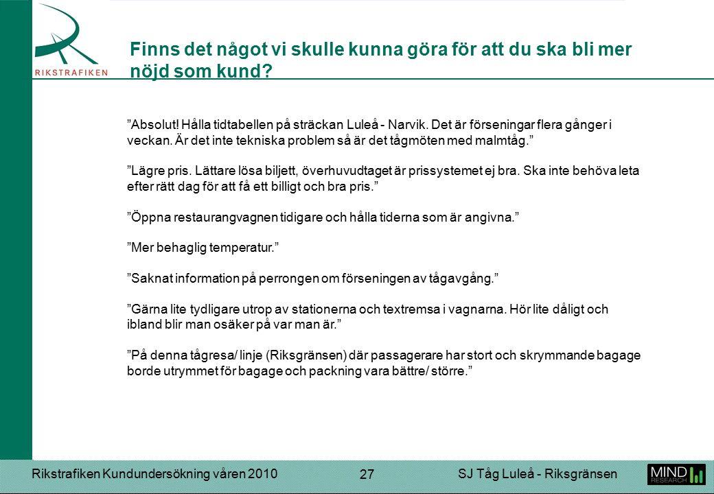 """Rikstrafiken Kundundersökning våren 2010SJ Tåg Luleå - Riksgränsen 27 """"Absolut! Hålla tidtabellen på sträckan Luleå - Narvik. Det är förseningar flera"""