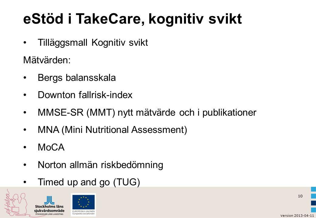10 v ersion 2013-04-11 eStöd i TakeCare, kognitiv svikt Tilläggsmall Kognitiv svikt Mätvärden: Bergs balansskala Downton fallrisk-index MMSE-SR (MMT) nytt mätvärde och i publikationer MNA (Mini Nutritional Assessment) MoCA Norton allmän riskbedömning Timed up and go (TUG)