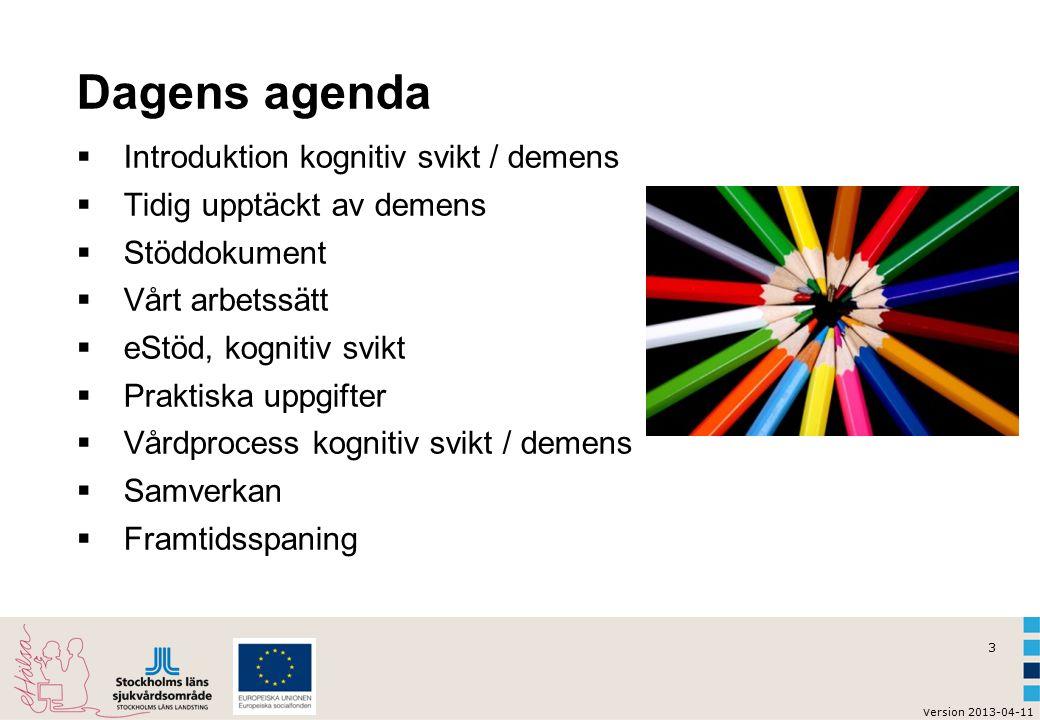 3 v ersion 2013-04-11 Dagens agenda  Introduktion kognitiv svikt / demens  Tidig upptäckt av demens  Stöddokument  Vårt arbetssätt  eStöd, kognitiv svikt  Praktiska uppgifter  Vårdprocess kognitiv svikt / demens  Samverkan  Framtidsspaning