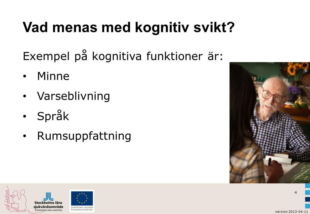 4 v ersion 2013-04-11 Vad menas med kognitiv svikt? Exempel på kognitiva funktioner är: Minne Varseblivning Språk Rumsuppfattning