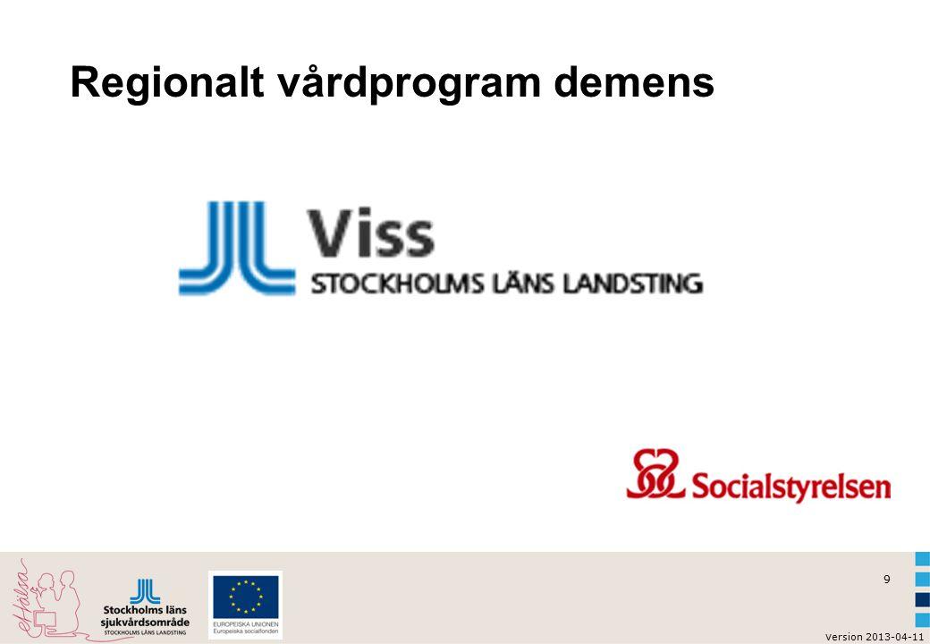 9 v ersion 2013-04-11 Regionalt vårdprogram demens