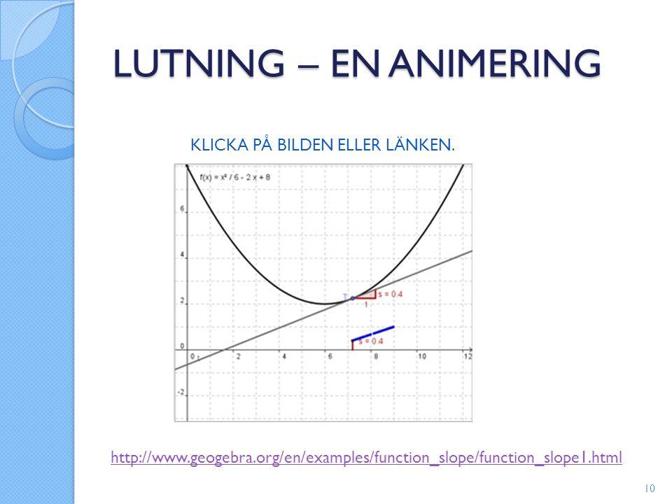 LUTNING – EN ANIMERING KLICKA PÅ BILDEN ELLER LÄNKEN. http://www.geogebra.org/en/examples/function_slope/function_slope1.html 10