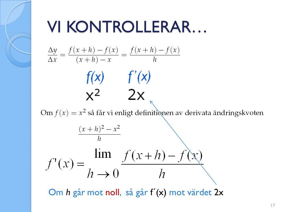 VI KONTROLLERAR… Om h går mot noll, så går f´(x) mot värdet 2x 17