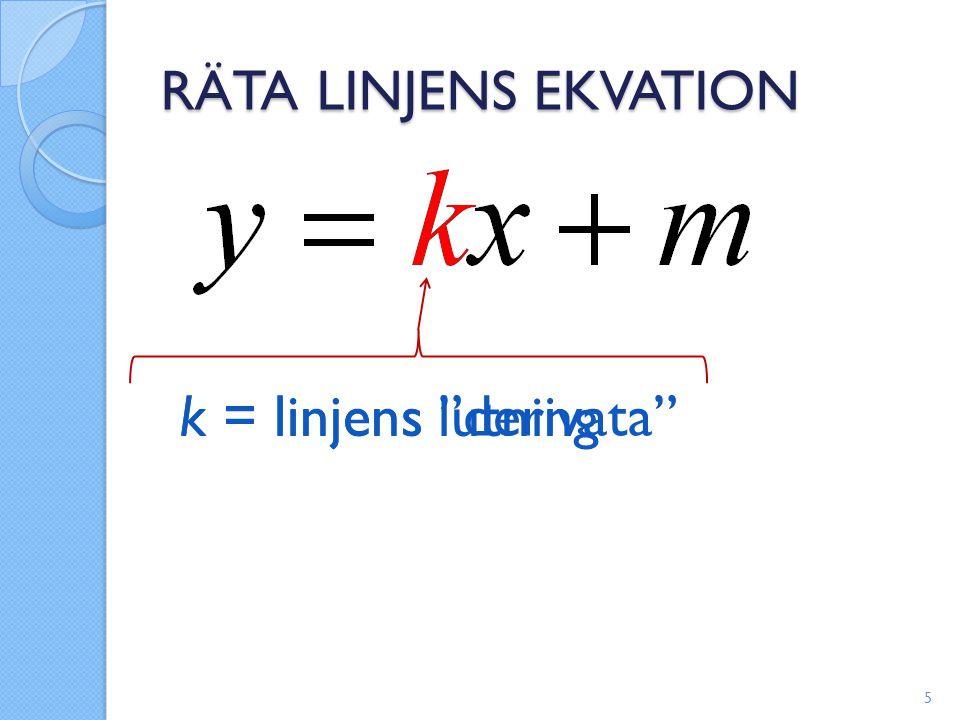 """RÄTA LINJENS EKVATION 5 k = linjens lutning k = linjens """"derivata"""""""