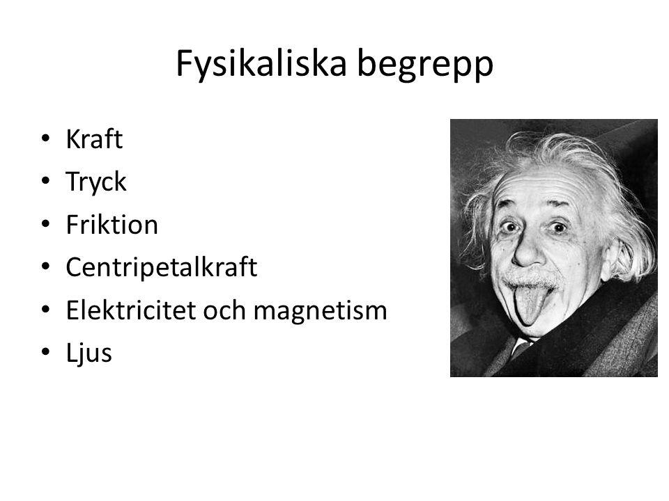 Fysikaliska begrepp Kraft Tryck Friktion Centripetalkraft Elektricitet och magnetism Ljus