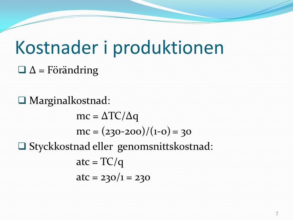  ∆ = Förändring  Marginalkostnad: mc = ∆TC/∆q mc = (230-200)/(1-0) = 30  Styckkostnad eller genomsnittskostnad: atc = TC/q atc = 230/1 = 230 Kostna