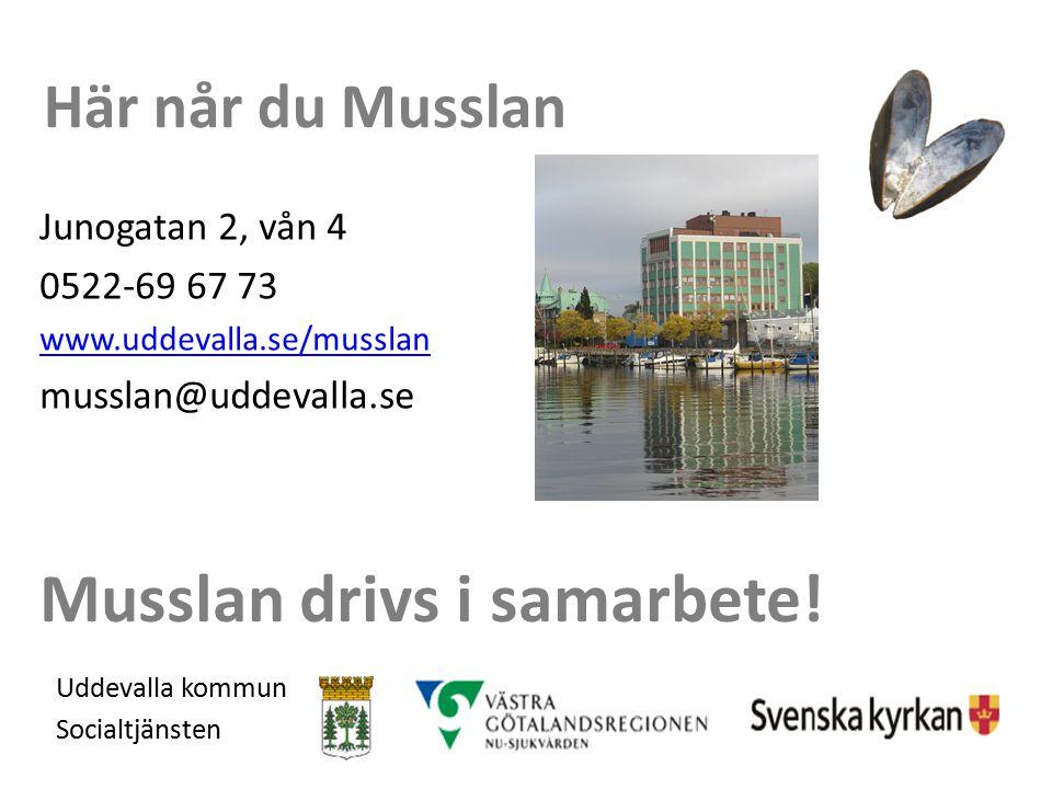 Musslan drivs i samarbete! Uddevalla kommun Socialtjänsten Här når du Musslan Junogatan 2, vån 4 0522-69 67 73 www.uddevalla.se/musslan musslan@uddeva